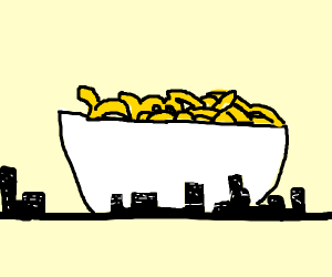 super large bowl of macaroni