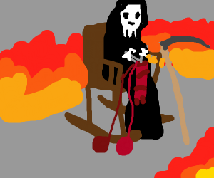 Death as an old lady