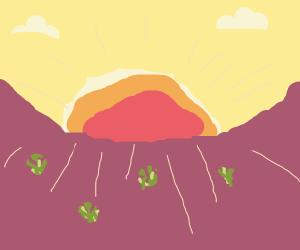sunrise in a desert