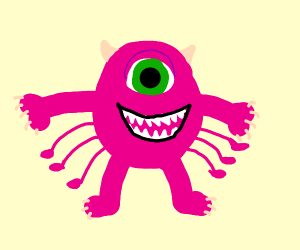 Weird pink spider Mike Wazowski
