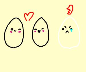 Egg is jealous of black egg couple