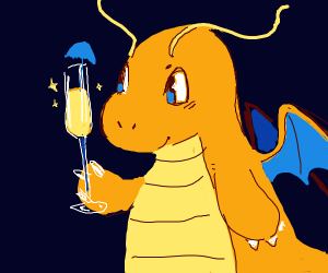 Dragonite with a flute of champagne