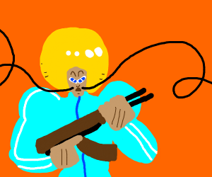 blue tracksuit afro mustache guy holds ak47
