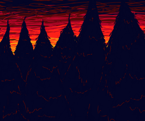 Dark forest at sunset