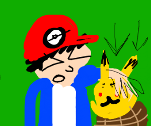 ash forcing pikachu into a basket