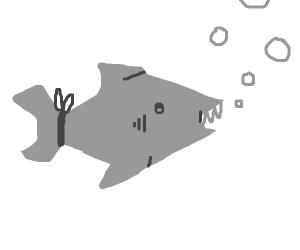 a shark with a tie
