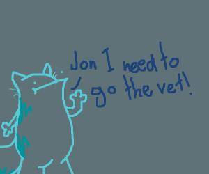 blue garfield tells Jon he needs the vet