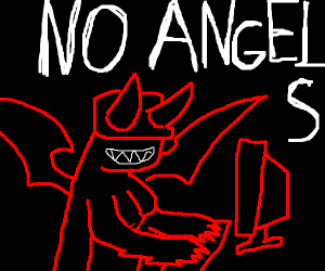 Angel and devil working at an office