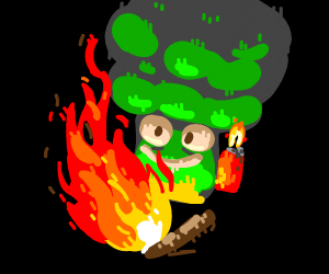 Broccoli starts a fire