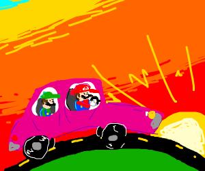 mario and luigi take a road trip