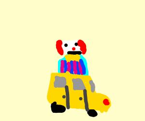 a clown painfully transforming to a clown car