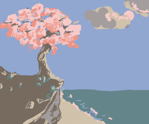 cherry blossom tree on a cliff near ocean
