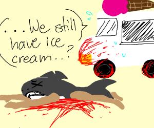 icecream truck running over a shark man