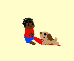 Afro american woman pulls rug from under dog