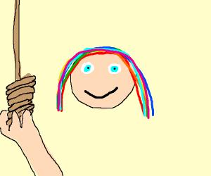 Man with grande rainbow hair pulls toggle