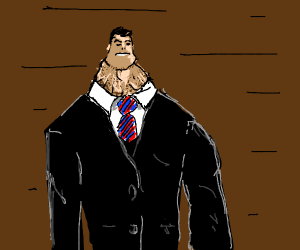 man with tiny head and wrinkly neck