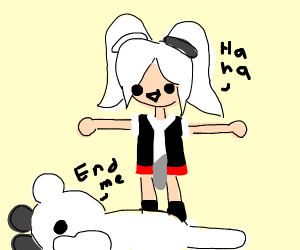 A very squished monokuma, clearly suffering