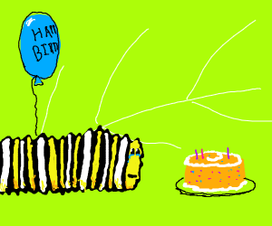 Lonely 3rd birthday for butterfly larva