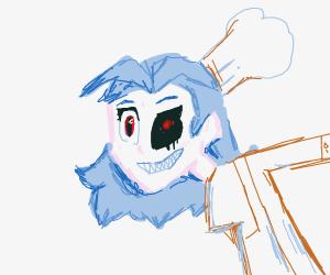 Creepily Pale anime girl chef