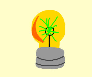 green spark inside lightbulb