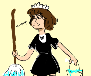 Unhappy maid, mopping