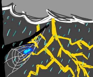 blue spider in a thunderstorm