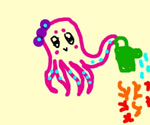 cute octopus watering his/her flowers