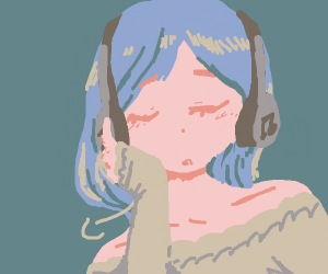 blue haired girl with headphones sighing