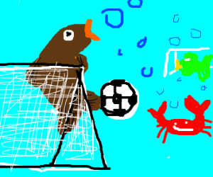 brown fish playing soccer