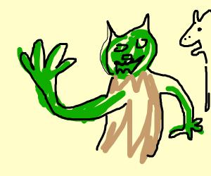 Shrek's left arm becomes longer than the othe