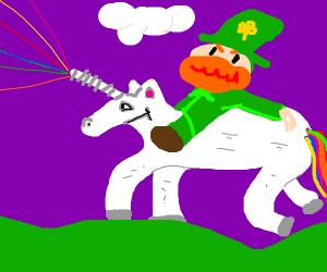 lepercon riding a unicorn