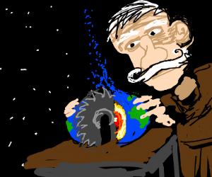 Man operates a circular saw in space