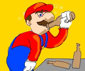 Mario gets a little drunk