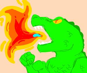 A dragon breathing fire