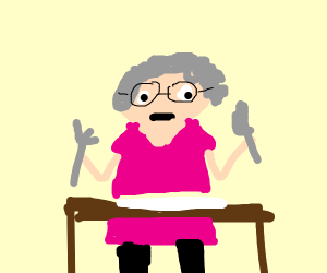 grandma is waiting for dinner to be served