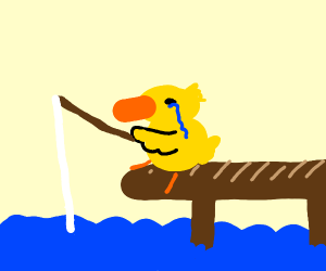 Duck is fishing and crying