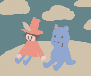 snufkin and moomin sitting outside together