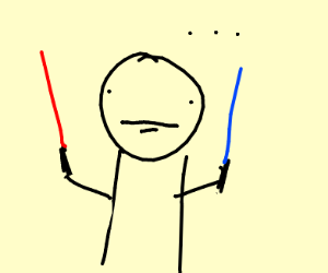 Man holding two lightsabers