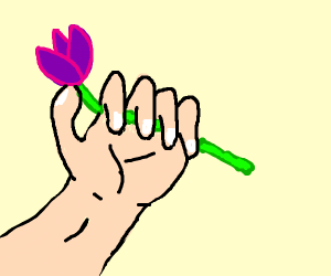 hand offering purple flowers to the air