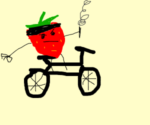 Strawberry gangster on a bike