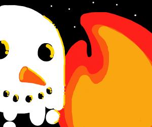 A campfire on a snowy starry night /w snowman