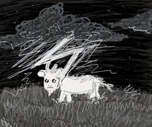 Goat struck by lightning