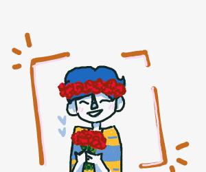 Man Wearing Flower Crown Holding Bouquet