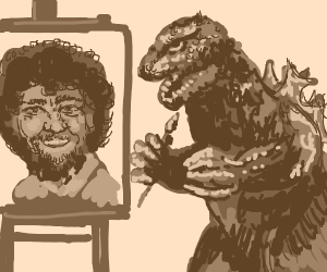 godzilla draws bob ross
