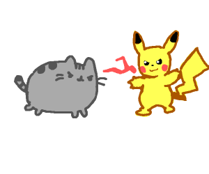 Pusheen in a fight with Pikachu