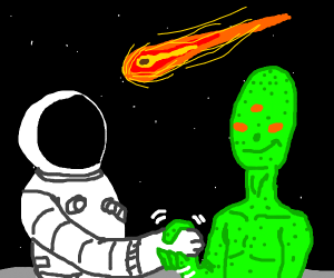 Astronaut shaking hands with a green alien