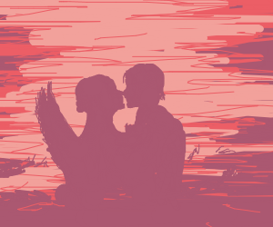 Silhouette of Romeo and Juliet