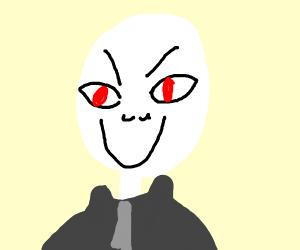 Evil skeleton businessman