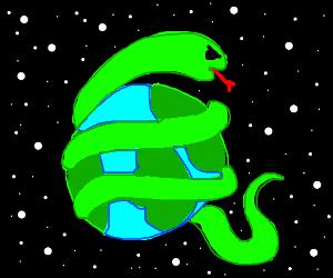 Giant snake strangling the Earth