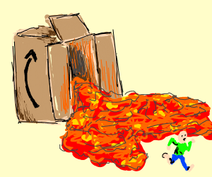 Somebody on the amazon being chased by lava